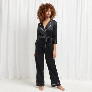 Wren Kimono and Trouser Set Black