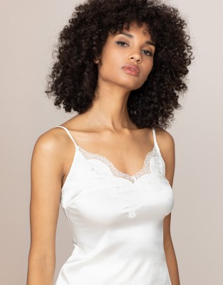Agent Provocateur Amelea Camisole Top In Ivory Silk And Lace Trim