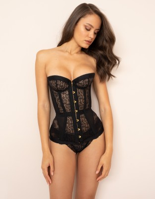 Agent Provocateur Mercy Corset In Black Lace With Embroidery