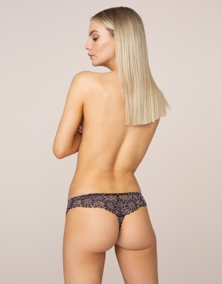Agent Provocateur Elysa Brazilian Thong In Black And Pink