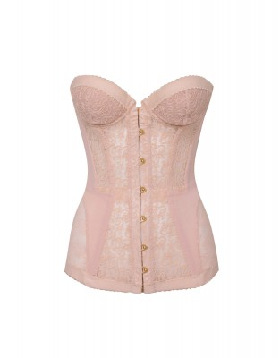 Agent Provocateur Mercy Corset In Nude Stretch Lace