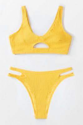 Textured Yellow High Leg Bikini