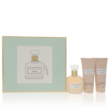 Carven Le Parfum for Women, Gift Set (3.4 oz EDP Spray + 3.4 oz Body Milk + 3.4 oz  Shower Gel)