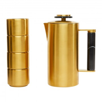 Soho Home - Henlow Cafetiere & Cup - Set of 4 - Gold