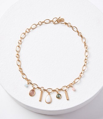 Loft Mixed Stone Chain Necklace